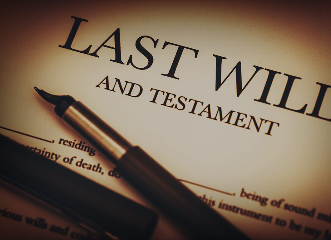 zoom in focus on the header of a Last Will and Testament
